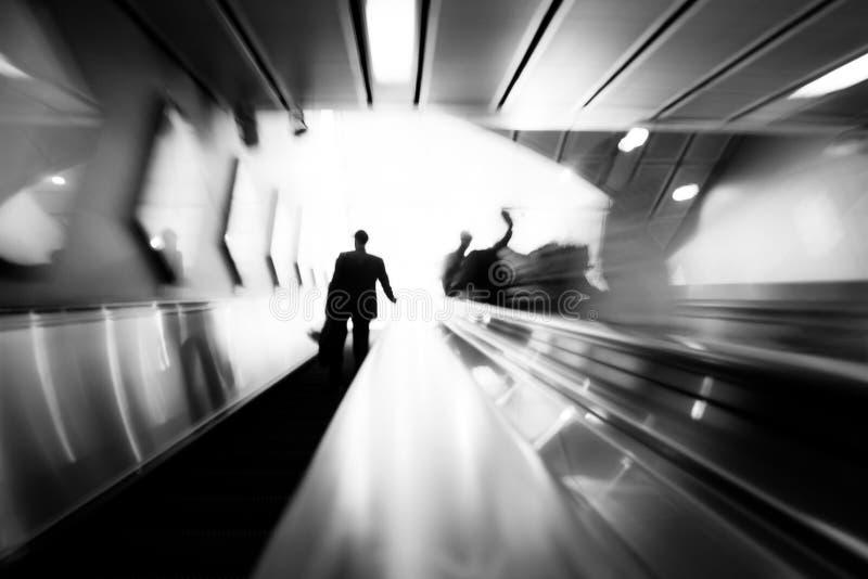 Subway escalator entrance stock image