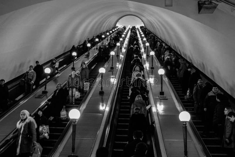 Subway escalators royalty free stock photos