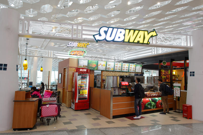 Subway fast food restaurant in airport royalty free stock photography