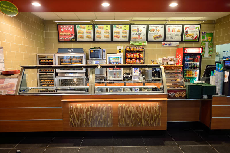 Subway fast food restaurant interior royalty free stock images