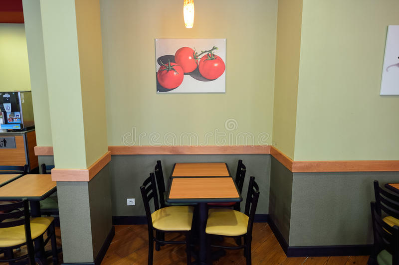 Subway fast food restaurant interior royalty free stock image