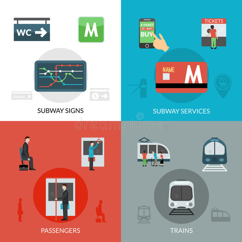 Subway Icons Set. Subway design concept set with passenger and trains flat icons vector illustration vector illustration