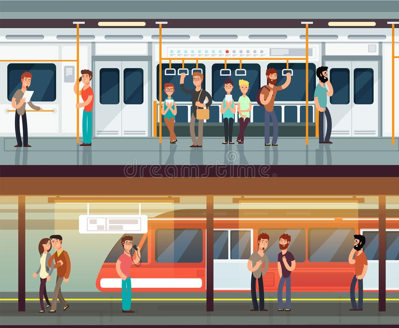 Subway inside with people man and waman. Metro platform and train interior. Urban metro vector concept. Illustration of metro platform, underground station stock illustration