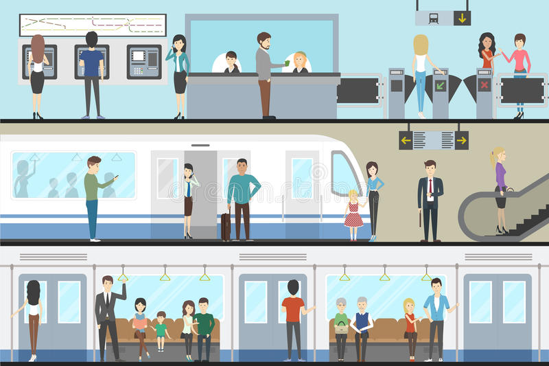 Subway interior set. Subway interior set with train, enter and inside the railway vector illustration