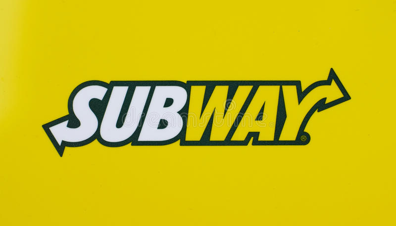 Subway logo printed on a white paper. MONTREAL, CANADA - JULY 30, 2017 : Subway logo printed on a white paper stock image