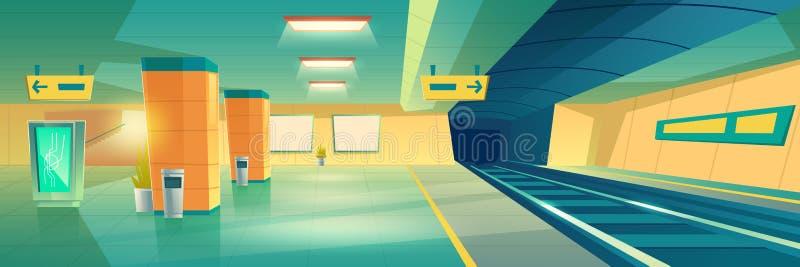 Subway, metro underground station interior vector. Modern subway, underground railroad station empty interior with illuminated advertising banner or signboard vector illustration
