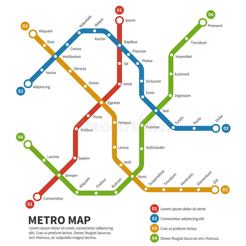 Subway, metro vector map. Template of city transportation scheme royalty free illustration