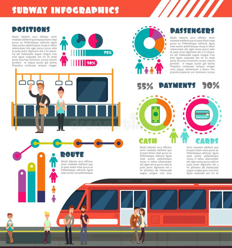 Subway, metro vector urban underground transport infographics with charts and data graphs stock illustration