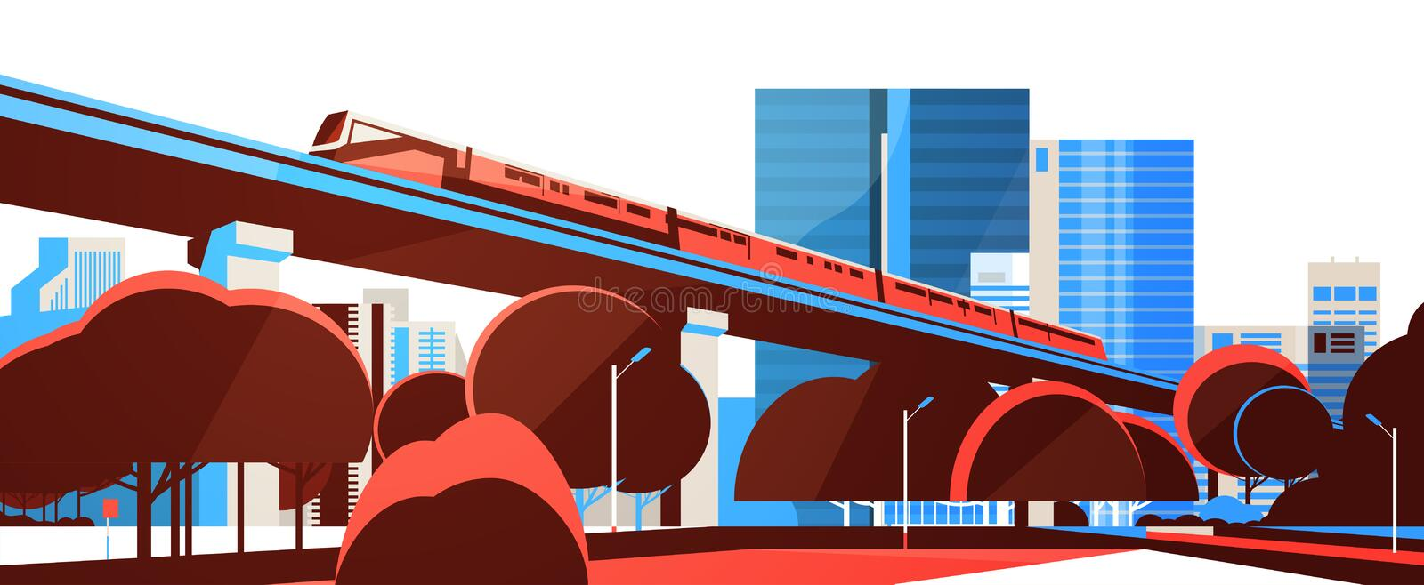 Subway monorail over city skyscraper view cityscape background skyline flat horizontal banner. Vector illustration vector illustration