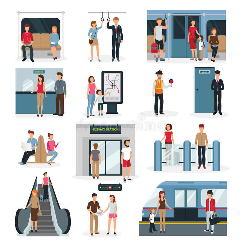Subway People Set. Flat design set with people in different situations in subway isolated on white background vector illustration stock illustration