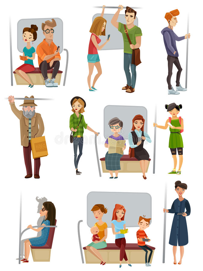 Subway People Set. With men women and children flat vector vector illustration