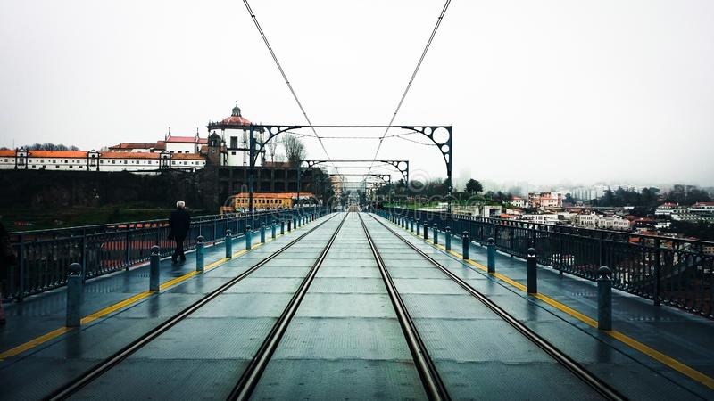 Subway rails over the Luis I bridge in Oporto, royalty free stock image