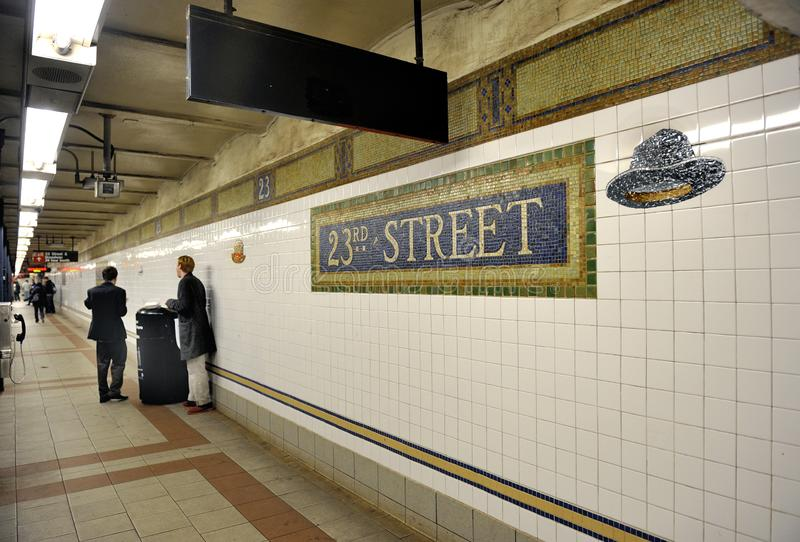 Subway at 23rd Street in NY stock images