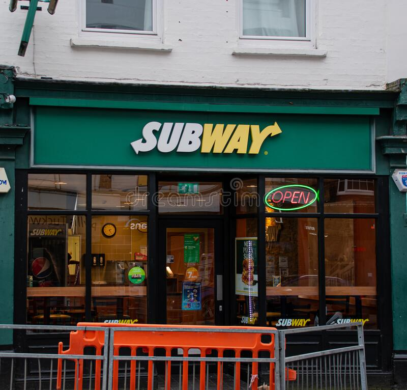 Subway sandwich bar Guildford. Guildford, United Kingdom - November 06 2019:   The frontage of Subway snadwich shop on Epsom Road royalty free stock images