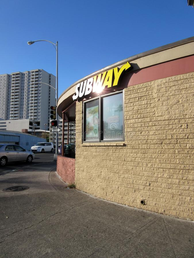 Subway Sandwich Shop on South King Street royalty free stock photography