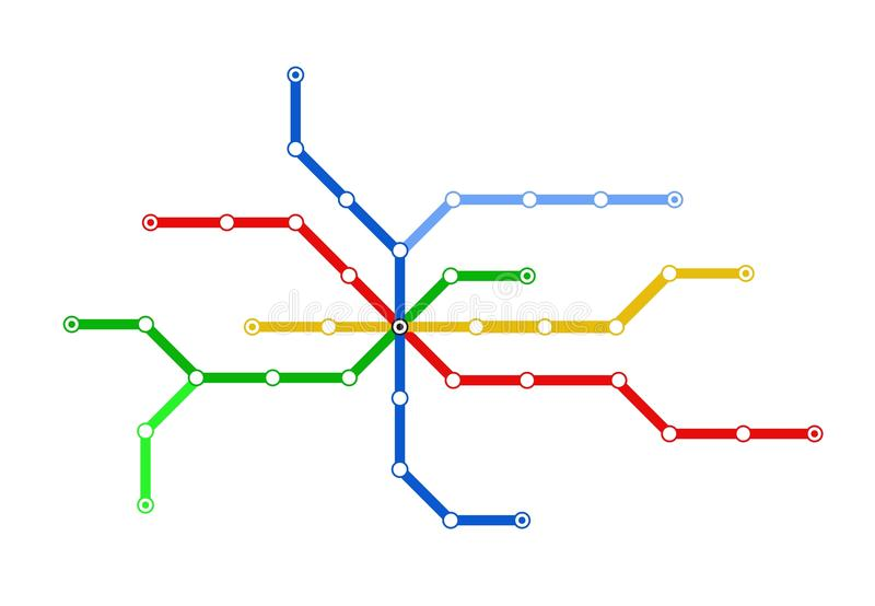 Subway schematic map. Colorful schematic map of subway lines. Vector available stock illustration