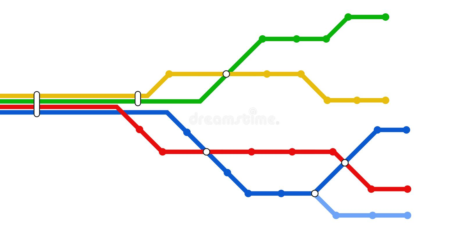 Subway schematic map. Colorful schematic map of subway lines. Vector available royalty free illustration