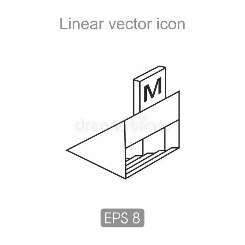 Subway sign-in icon. Subway sign with stairs and letter M stock illustration