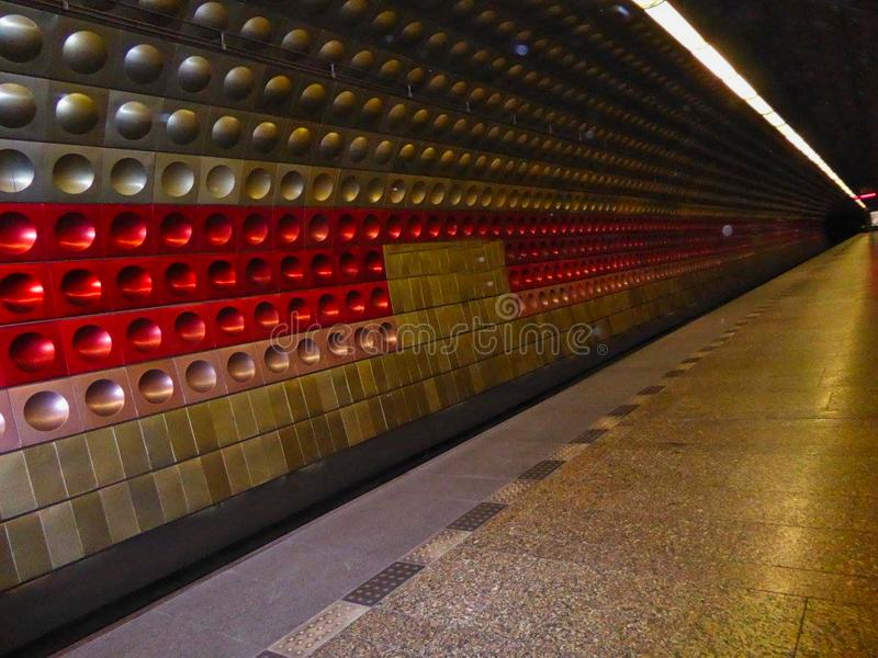 A subway station in a city. A subway station in the city, transportation, system, tourism, urban, light, railroad, public, railway, underground, old, interior stock photos