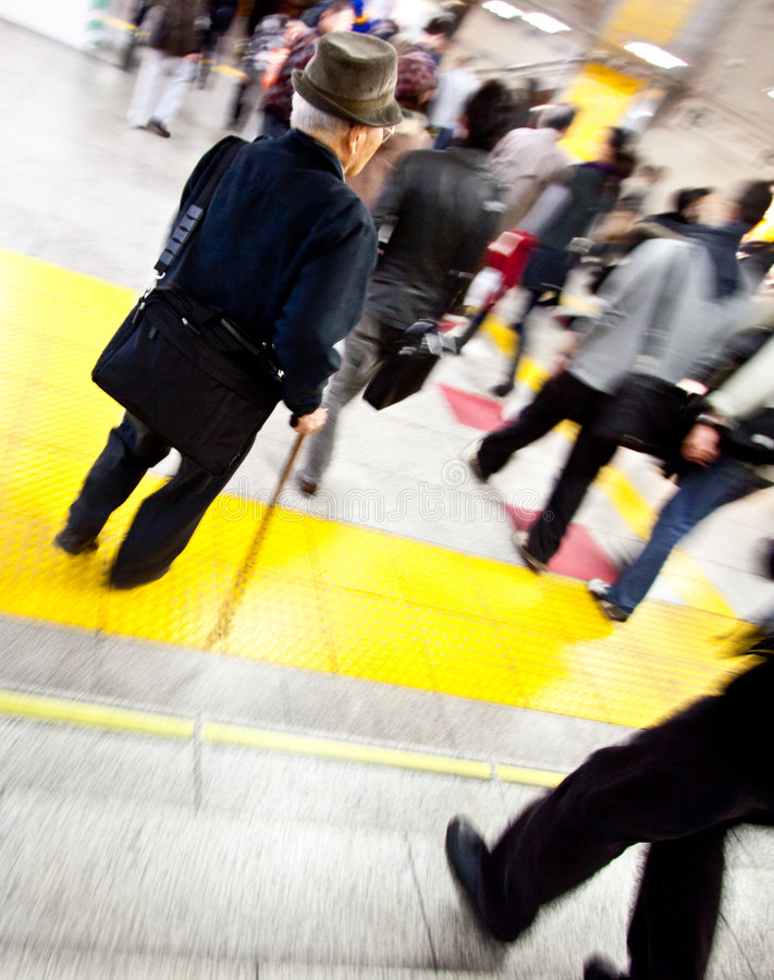 Download Subway Station Old Man In Motion Stock Photo - Image: 8265582