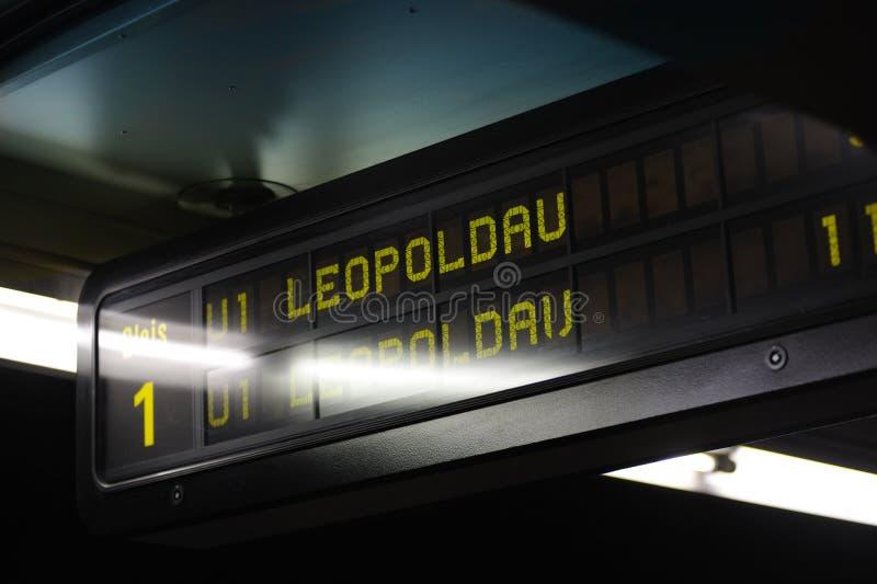Subway station sign, Vienna, Austria stock photography