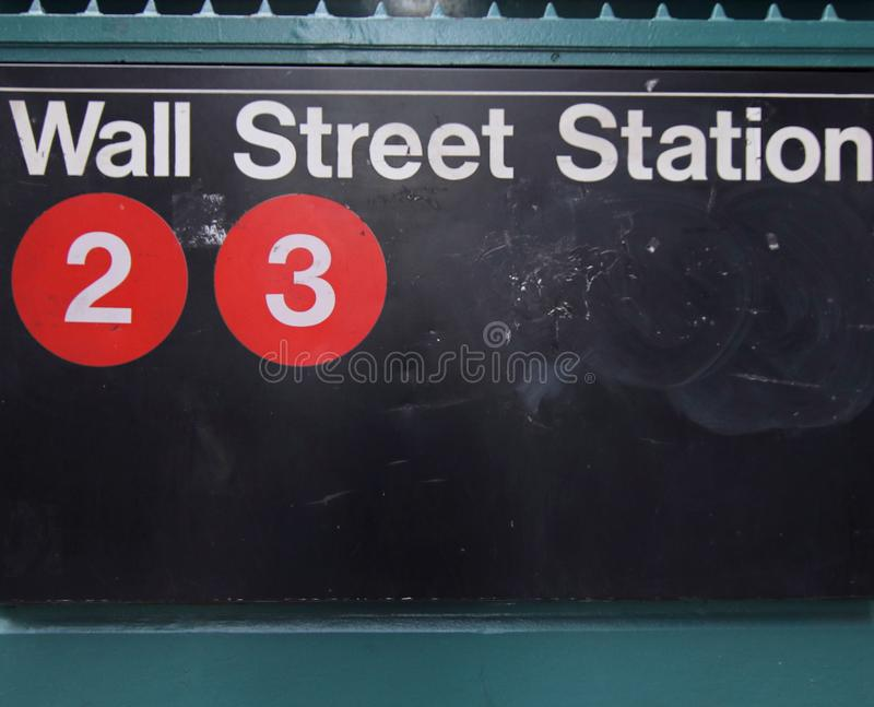 Subway Station, Sign, Wall Street stock photography