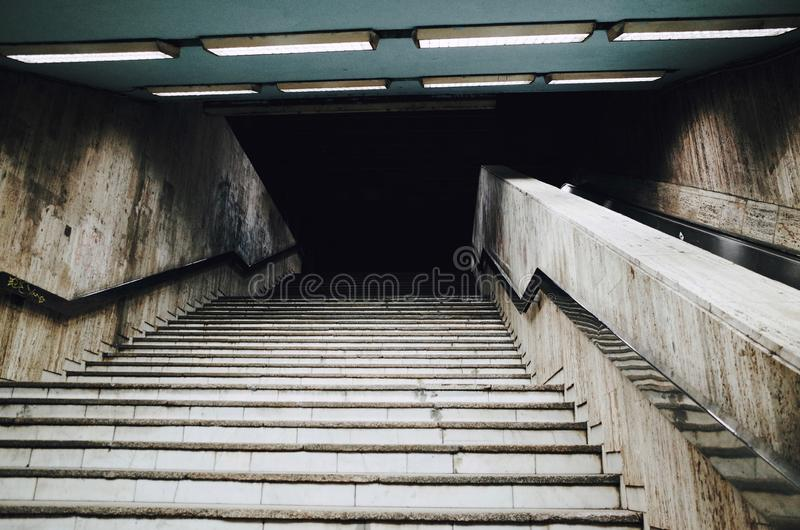 Stairway into the dark night stock image