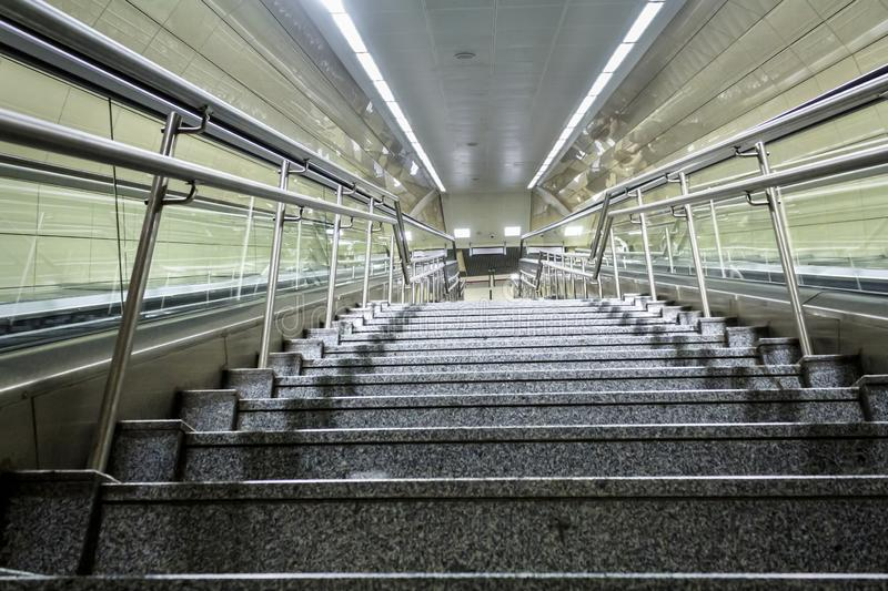 Subway station stairs in Istanbul city. royalty free stock photos