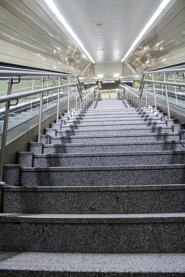 Subway station stairs in Istanbul city. royalty free stock photography
