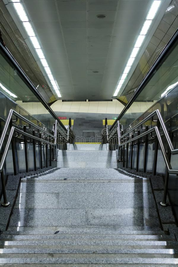 Subway station stairs in Istanbul city. stock image