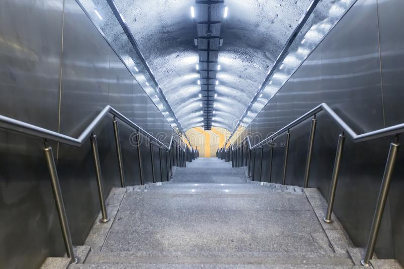 Subway station stairs in Istanbul city. stock photo