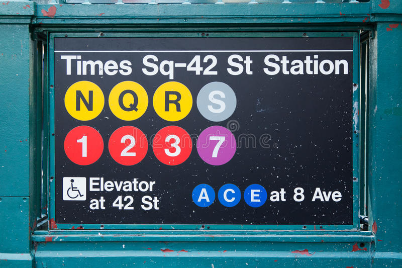 Subway station in Time Square in New York stock images