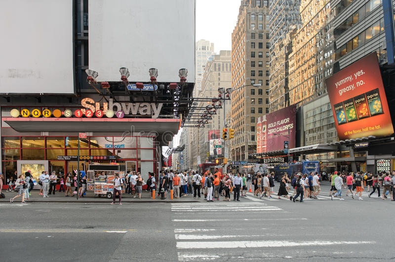Subway station at Times Square stock images
