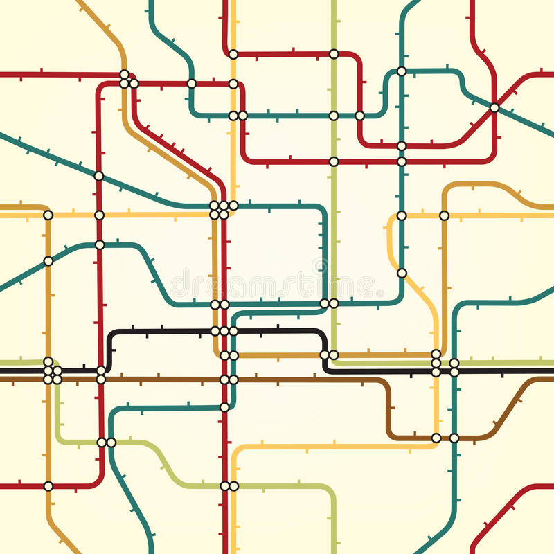 Subway tile. Seamless editable tile of a generic subway map royalty free illustration