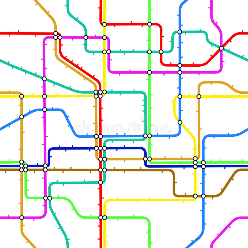 Subway tile. Seamless editable vector tile of a generic subway map royalty free illustration
