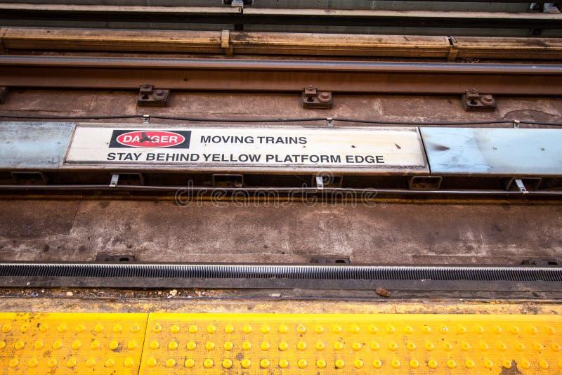 Subway Tracks Danger Sign Close Up Stock Photo Image Of Hazardous