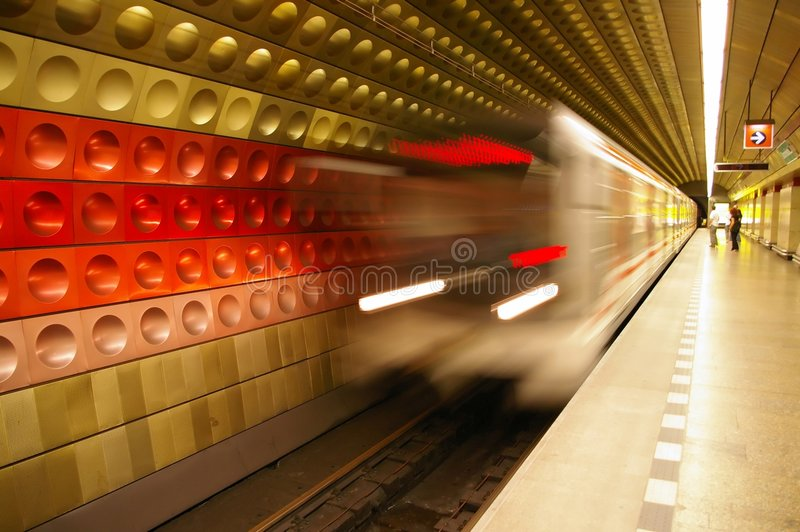 Subway train. Motion blurred subway train coming into the station (Prague, Czech Republic stock photo