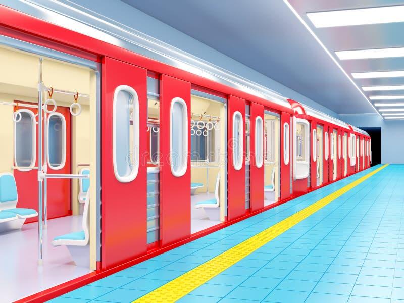 Subway train arrive on station. 3d illustration stock illustration