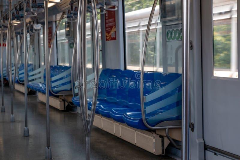 Subway train cab interior of Shanghai metro. Day stock photos