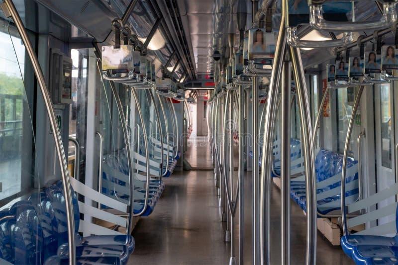 Subway train cab interior of Shanghai metro. Day royalty free stock images