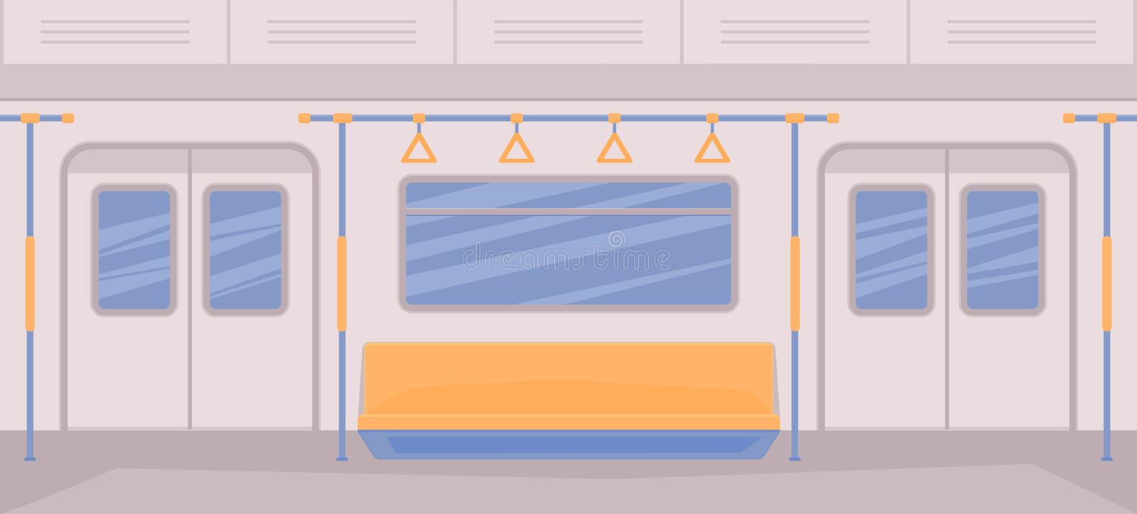 Subway train car inside. Interior with seats, a door for entrance and exit, handrails, window. royalty free illustration