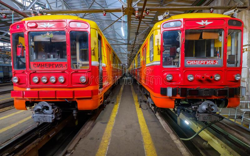 Subway train metro depot Krasnaya presnya interior. Moscow, Russia - April 15, 2018: Subway train metro depot Krasnaya presnya interior stock image