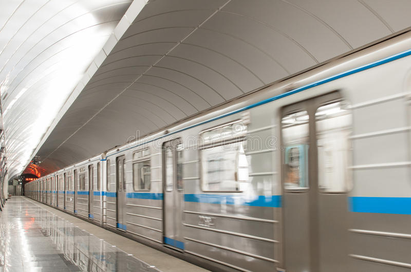 Subway train at metro station Butirskaya in Moscow, Russia. stock photo