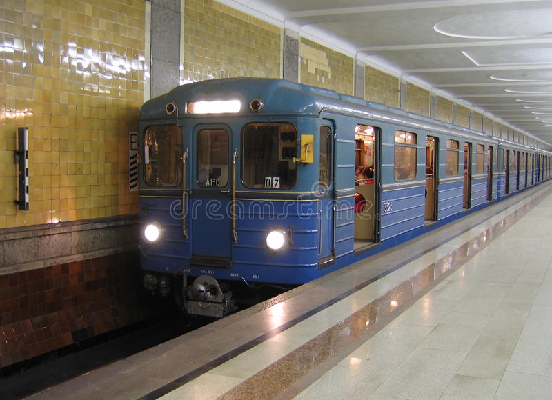 Subway train in Moscow. Subway train of type EZh in Moscow stock photos