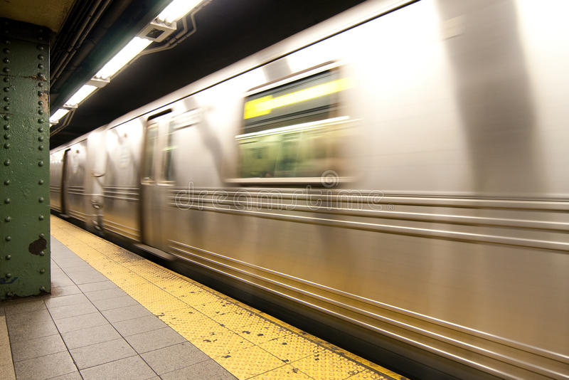 Subway train in motion royalty free stock photography