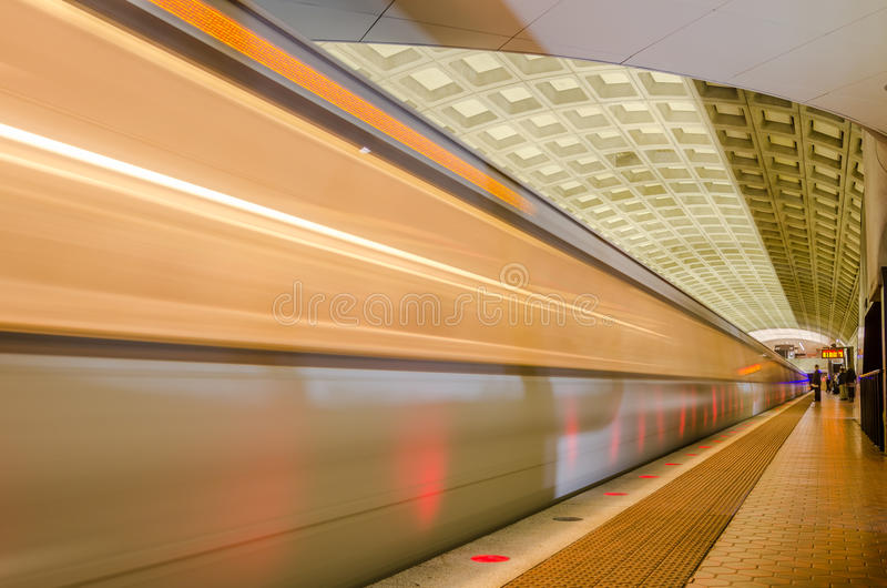 Subway Train In Motion. Underground Train Pulling into a Platform royalty free stock photography