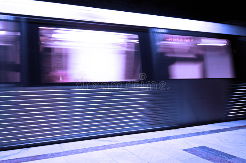 Subway train moving with speed. royalty free stock images