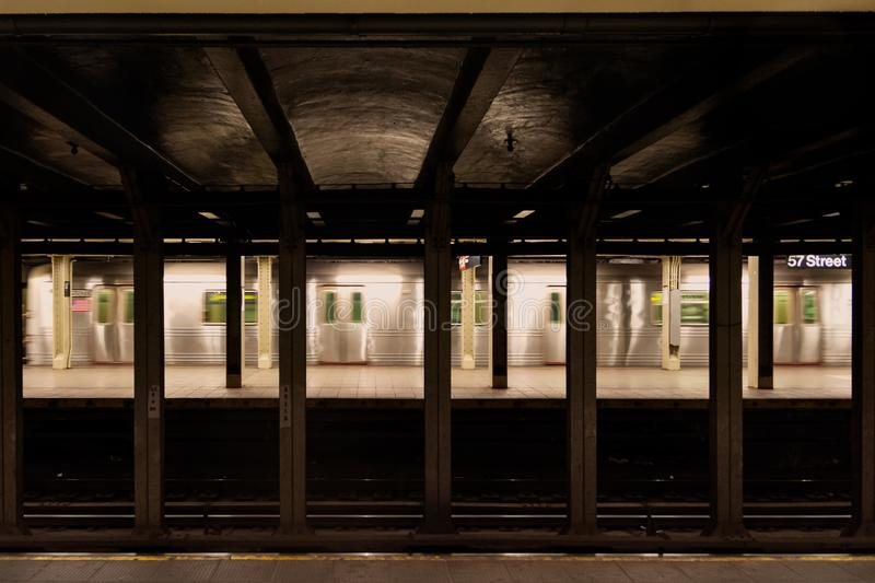 New York City Subway in 57 th station royalty free stock photography