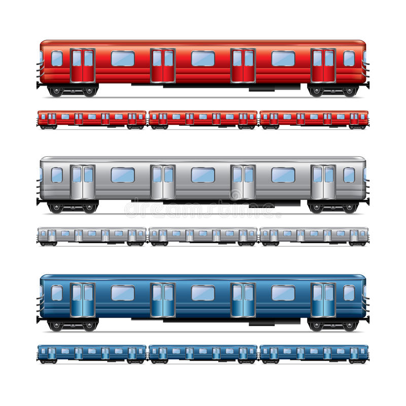 Subway Train Set Isolated On White Vector Stock Vector
