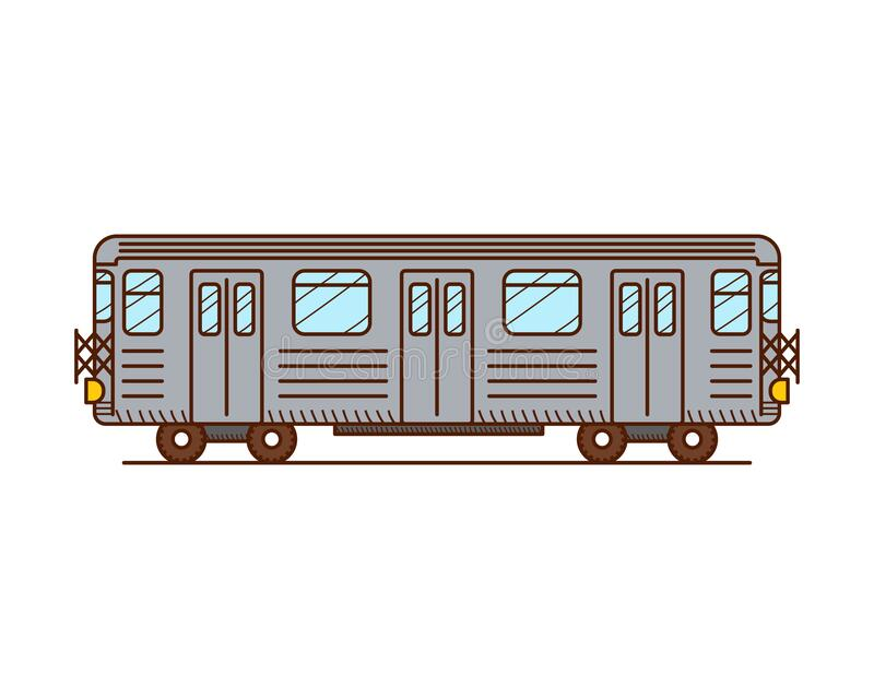 Subway train. Side view, isolated on white background vector illustration